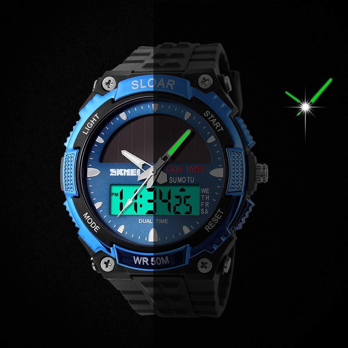 49blue ソーラー腕時計 メンズ デジアナウォッチ スポーツ 人気ブランド おしゃれ ファション クロノグラフ シリコン [_画像5