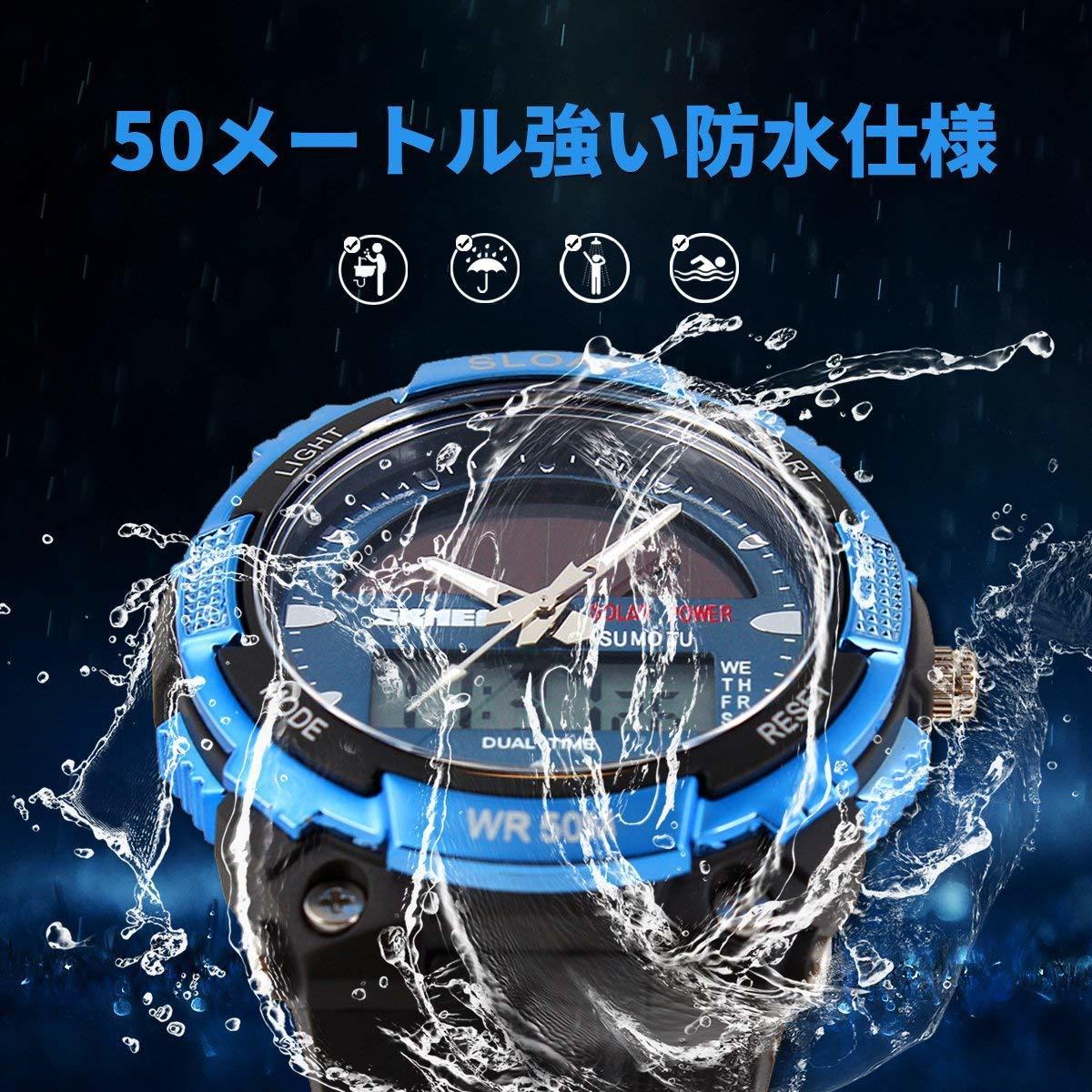 49blue ソーラー腕時計 メンズ デジアナウォッチ スポーツ 人気ブランド おしゃれ ファション クロノグラフ シリコン [_画像3