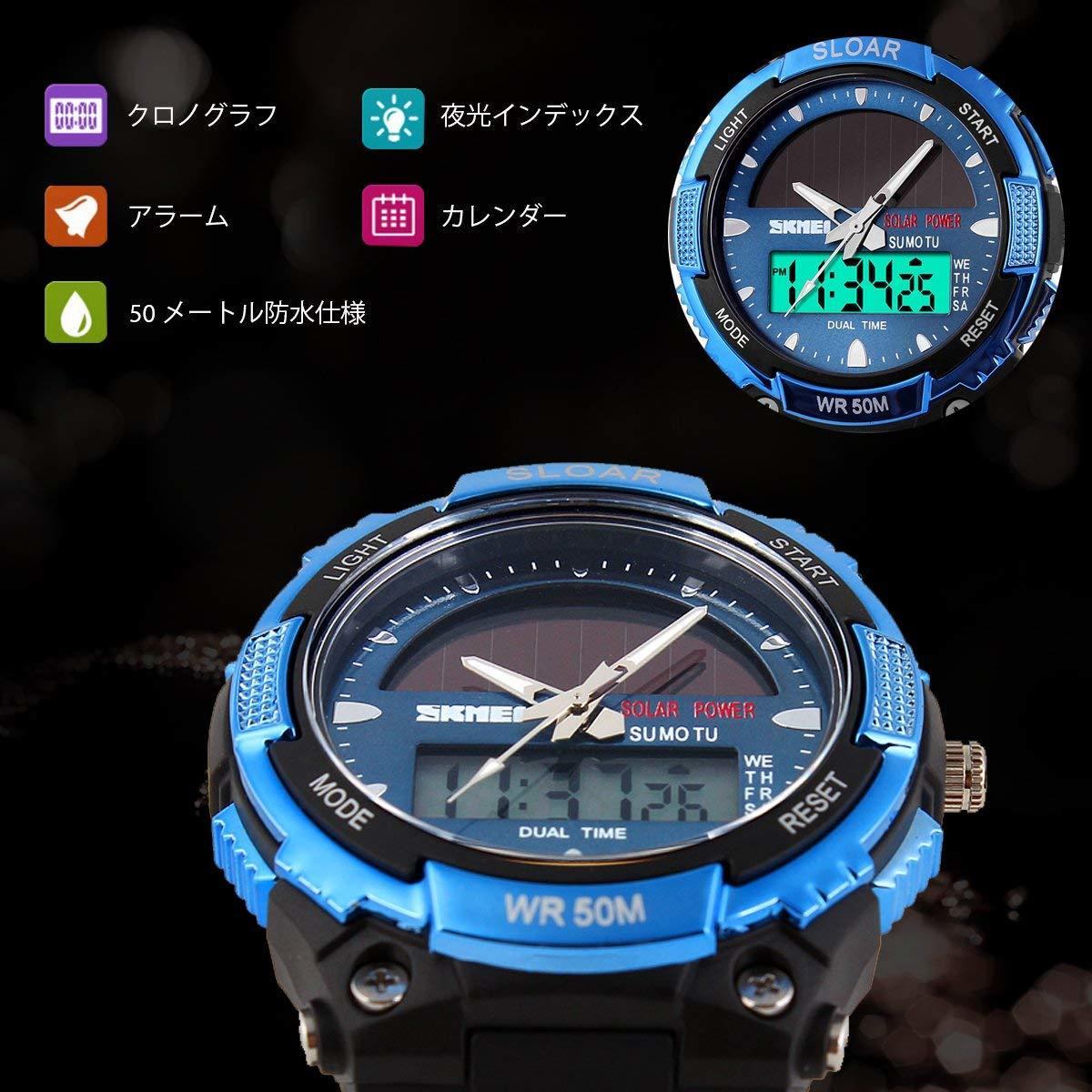 49blue ソーラー腕時計 メンズ デジアナウォッチ スポーツ 人気ブランド おしゃれ ファション クロノグラフ シリコン [_画像4