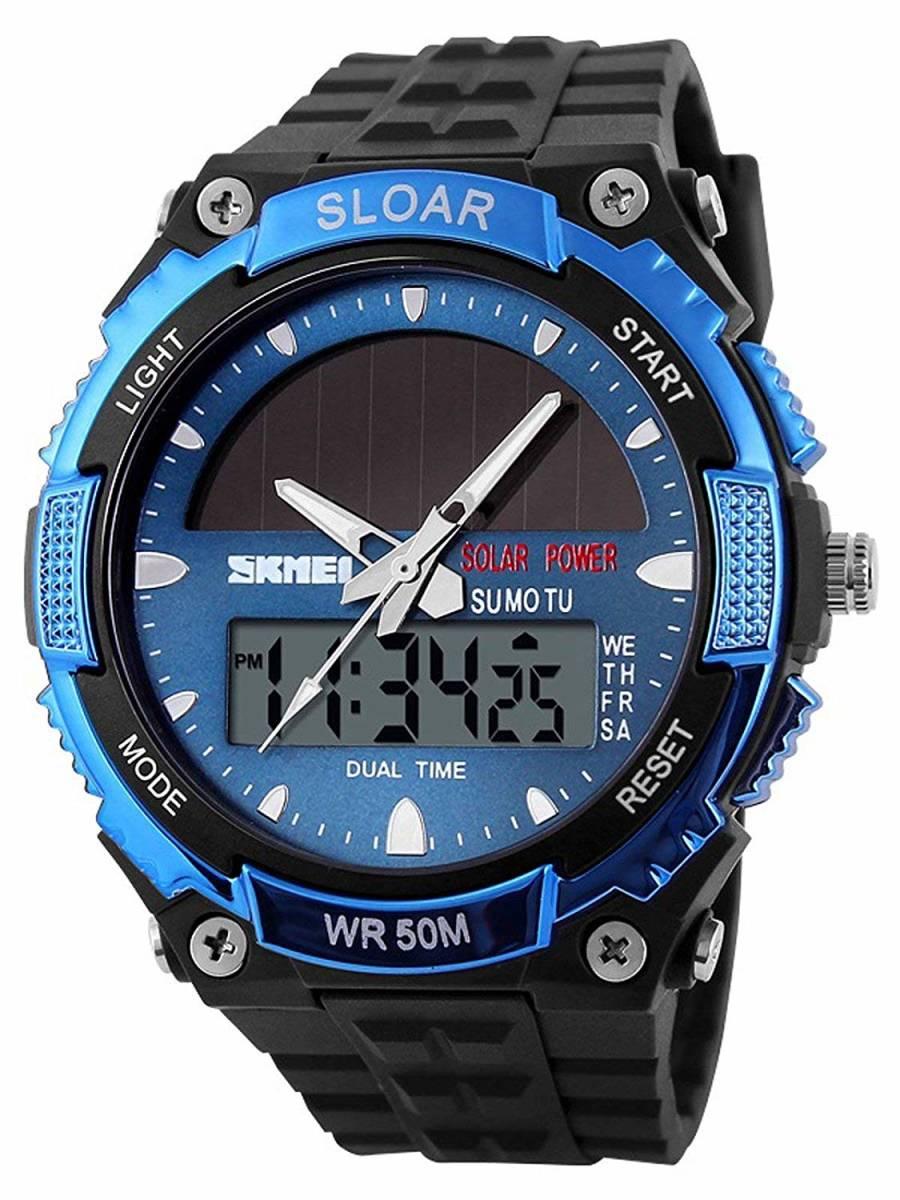 49blue ソーラー腕時計 メンズ デジアナウォッチ スポーツ 人気ブランド おしゃれ ファション クロノグラフ シリコン [_画像1