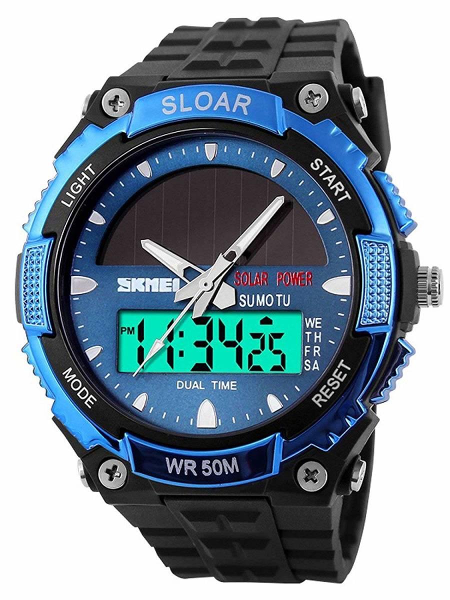 49blue ソーラー腕時計 メンズ デジアナウォッチ スポーツ 人気ブランド おしゃれ ファション クロノグラフ シリコン [_画像2