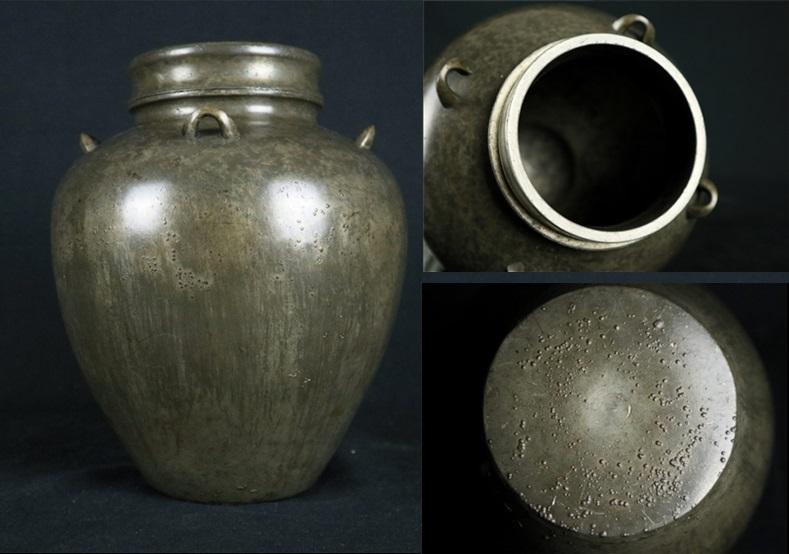 古錫斑紋茶壷 茶心壺 茶入 高さ約22.5㎝ 無銘◆煎茶道具 茶道具