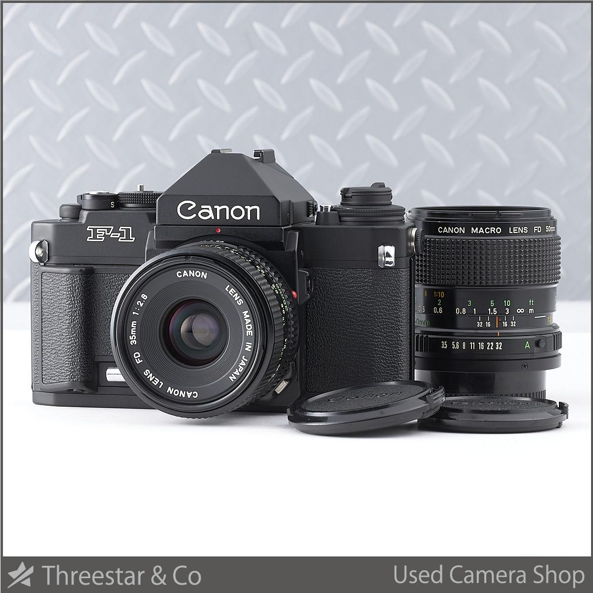 1円~ CANON NEW F-1 アイレベル NEW FD 35mm 1:2.8 MACRO 50mm 1:3.5 セット きれいでオススメ!!
