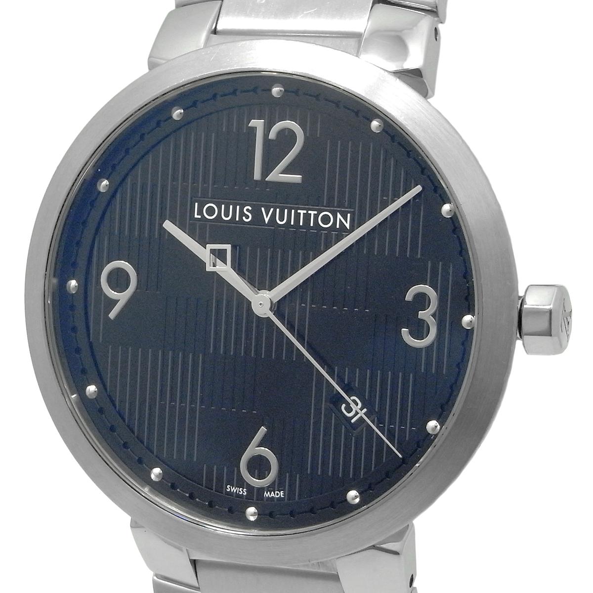 ルイヴィトン タンブールダミエ メンズ クォーツ QZ デイト 黒文字盤 Q1D00 LouisVuitton_画像1