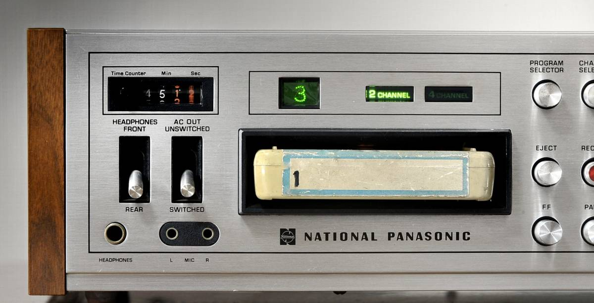 ★NATIONAL PANASONIC 8TRACK 4CH PLAY / 2CH RECORD DECK STEREO CASSETTE DECK RS-855U 8トラ オーディオ高級デッキ  \1開始_各1~4のchannelを楽しむ