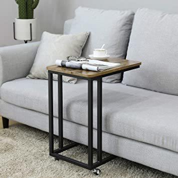ヴィンテージ サイドテーブル VASAGLE サイドテーブル ソファ ナイトテーブル 広い天板 キャスター付き 幅50x奥行35_画像2