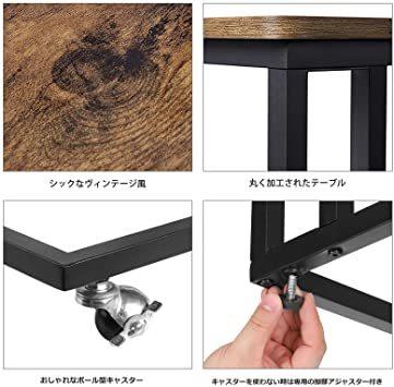 ヴィンテージ サイドテーブル VASAGLE サイドテーブル ソファ ナイトテーブル 広い天板 キャスター付き 幅50x奥行35_画像4