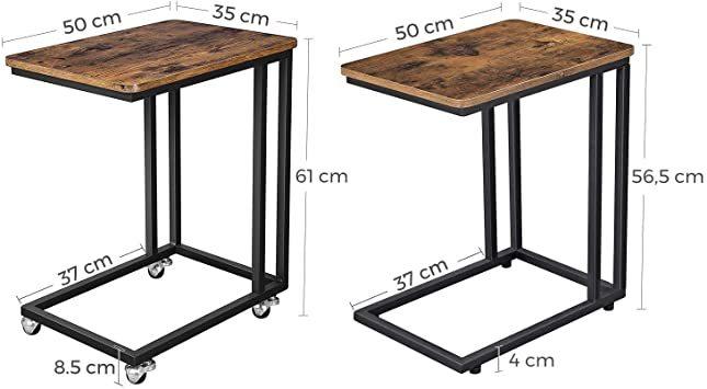 ヴィンテージ サイドテーブル VASAGLE サイドテーブル ソファ ナイトテーブル 広い天板 キャスター付き 幅50x奥行35_画像5