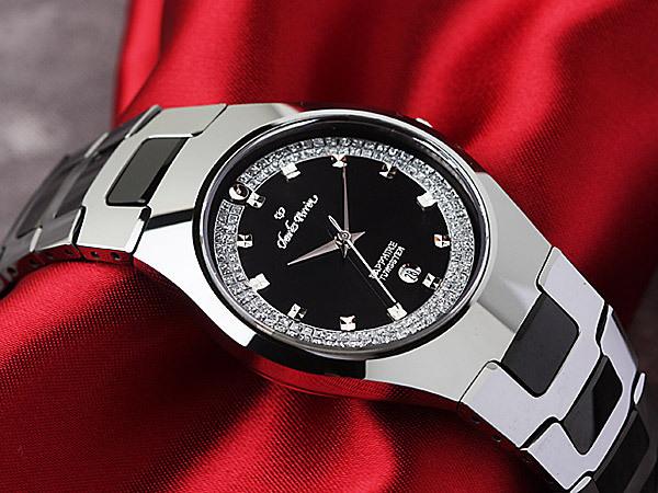 1円開始×3本 超硬タングステン&セラミック&サファイアガラス風防 気品あるオニキスブラック腕時計 新品未使用メンズ 1スタ 激レア入
