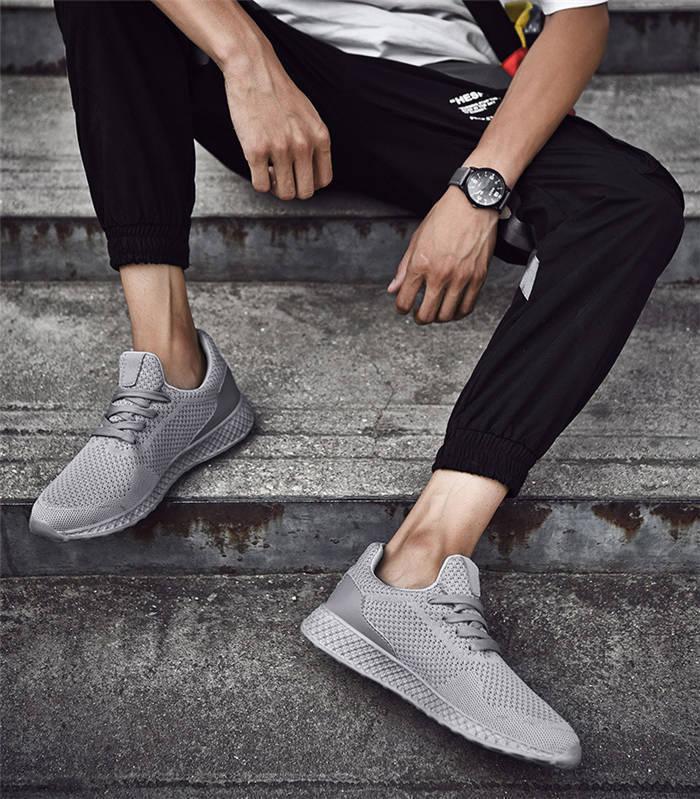【在庫処理】スニーカー 通気性 レースアップ メンズカジュアルデッキシューズ ウォーキングシューズ 軽量 紳士 春夏靴 ms0080 灰色 25.0cm_画像3