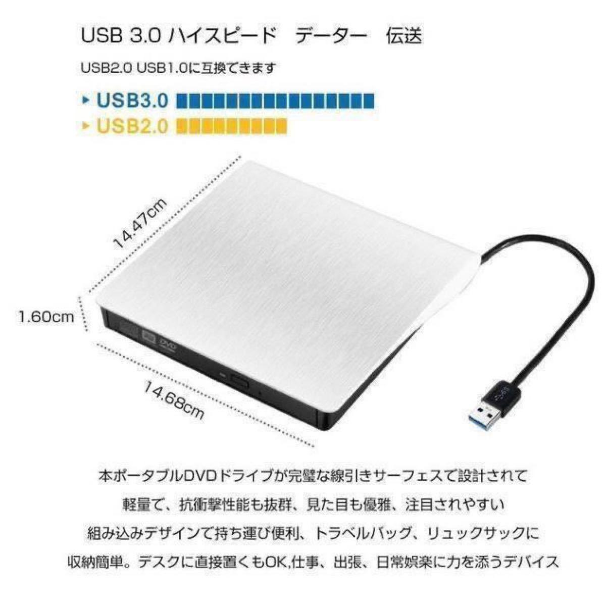 外付けDVDドライブ DVD USB3.0 ポータブル