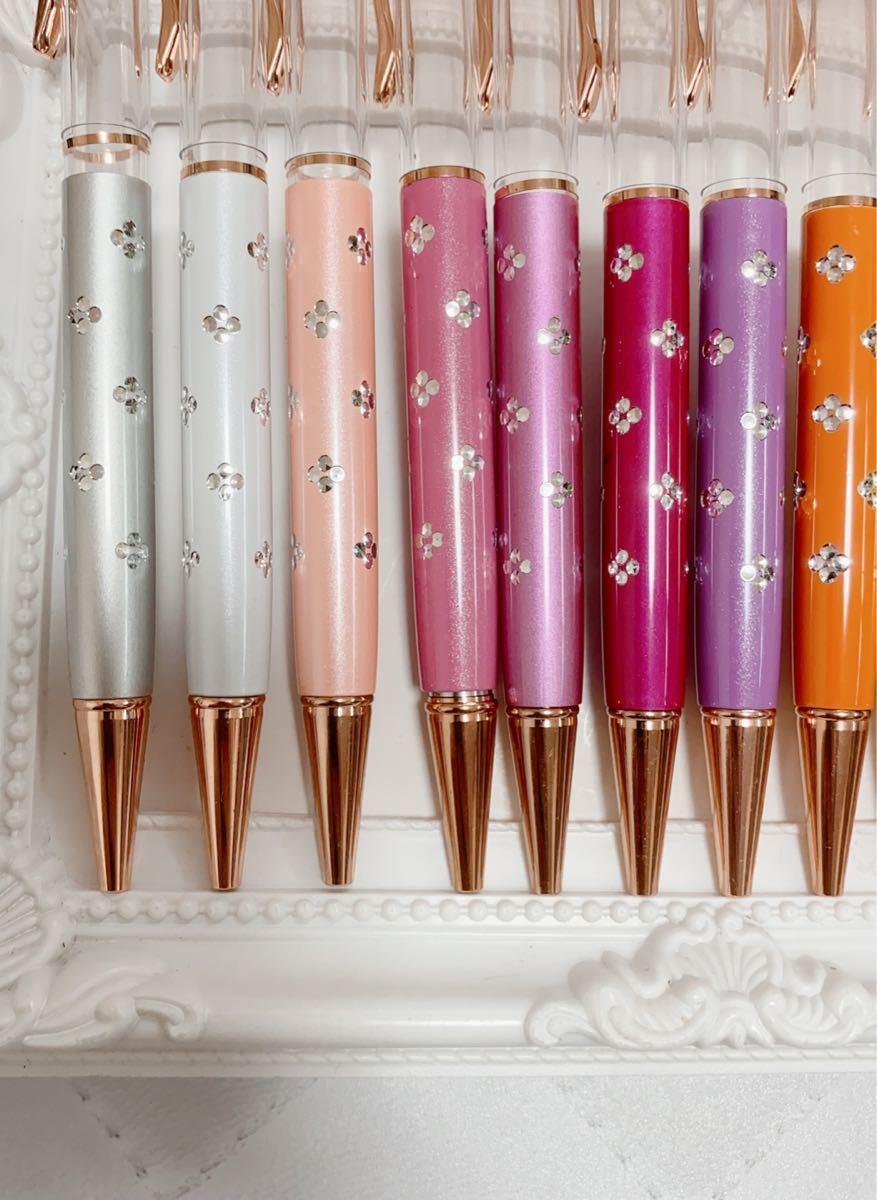 お得 お花柄 ハーバリウムボールペン 24本 ワークショップ ピンクゴールド