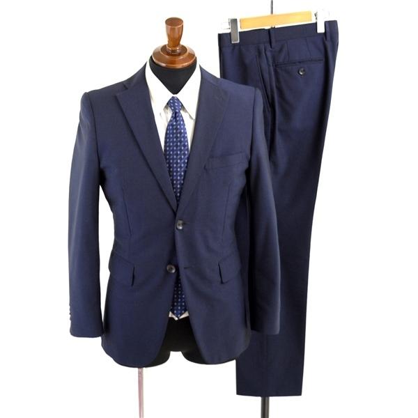 1UB113】P.S.FA 2つボタン シングルスーツ Y5 M ダークネイビー 濃紺 無地 袖口4つ釦 背抜き ノータック 細身 スリム PC720105-85_画像1