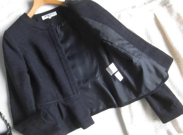 ◆ナチュラルビューティーベーシック プラステ  PLST セットアップ ノーカラー ジャケット スカート セレモニー_画像3