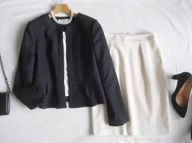 ◆ナチュラルビューティーベーシック プラステ  PLST セットアップ ノーカラー ジャケット スカート セレモニー_画像1