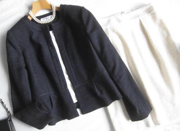 ◆ナチュラルビューティーベーシック プラステ  PLST セットアップ ノーカラー ジャケット スカート セレモニー_画像2