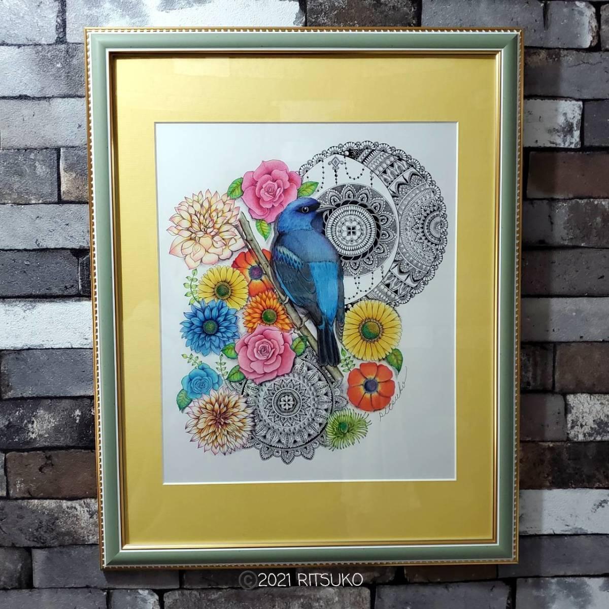 原画 1点もの 色鉛筆画 ボールペン画 日本人作家 花鳥風月 絵画 絵 アート インテリア 開運_画像1