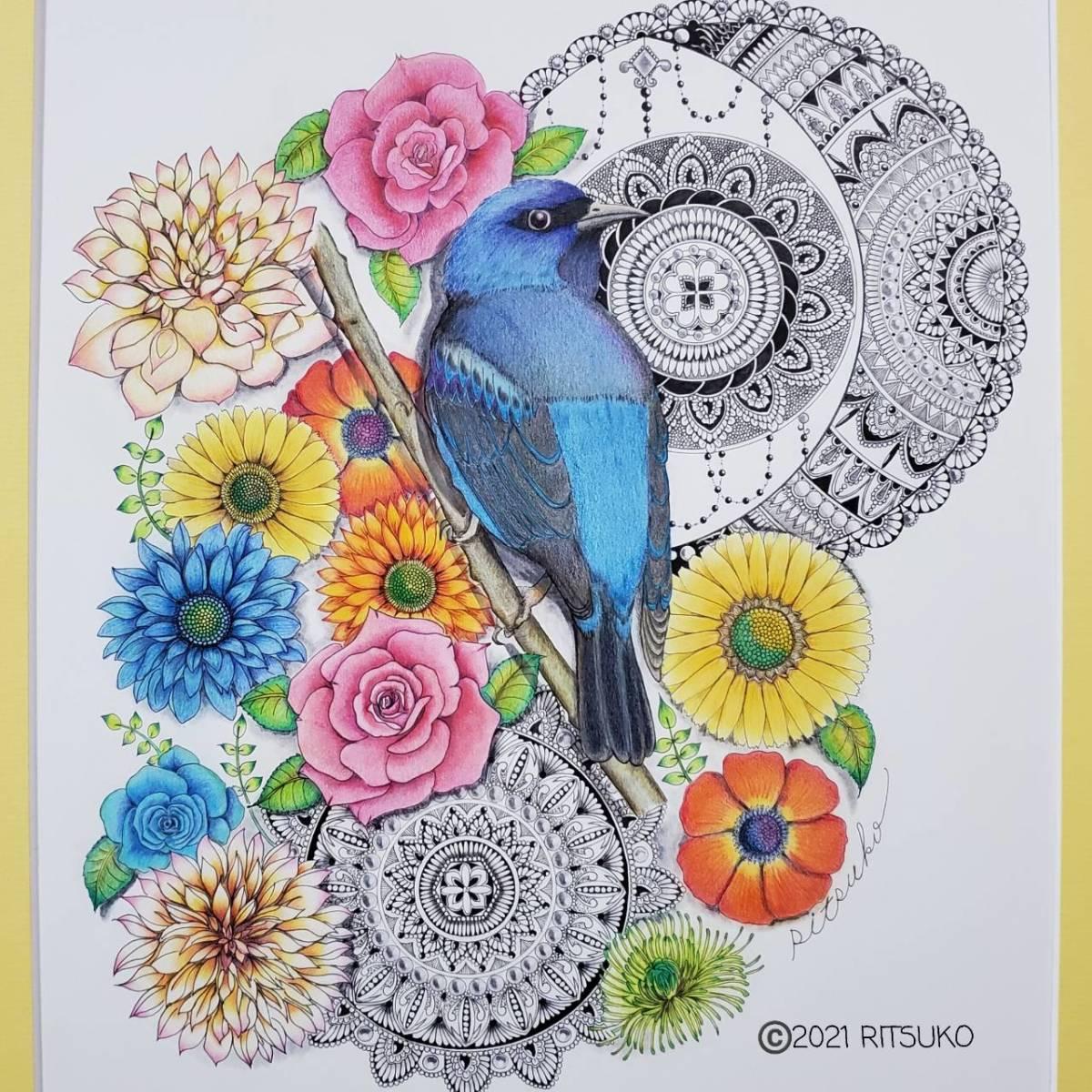 原画 1点もの 色鉛筆画 ボールペン画 日本人作家 花鳥風月 絵画 絵 アート インテリア 開運_画像2