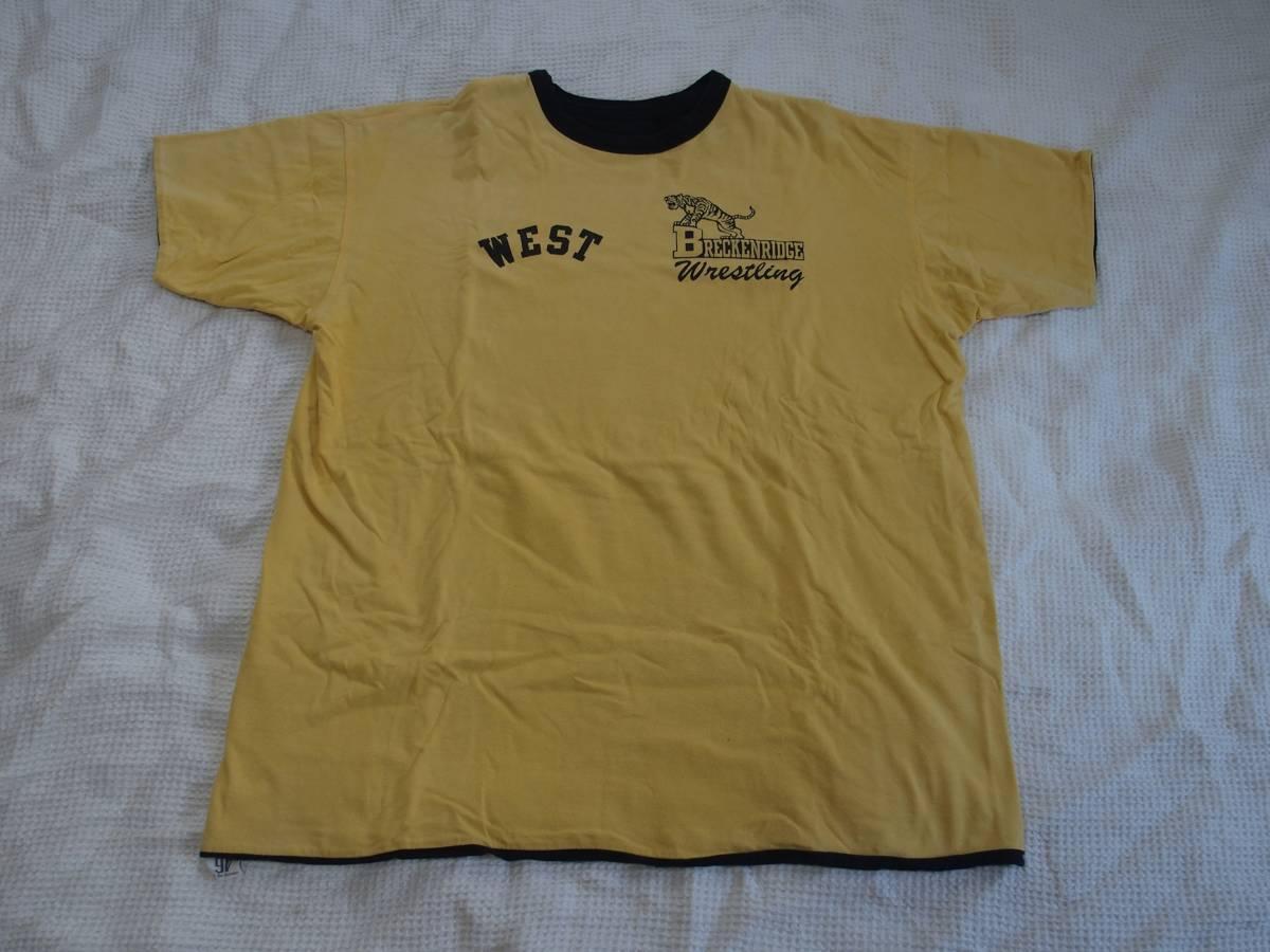 旧リアルマッコイズ リバーシブルTシャツ Breckenridge Wrestling ゴールド サイズ46 XL フリーホイーラーズ バーンストーマーズ_画像1