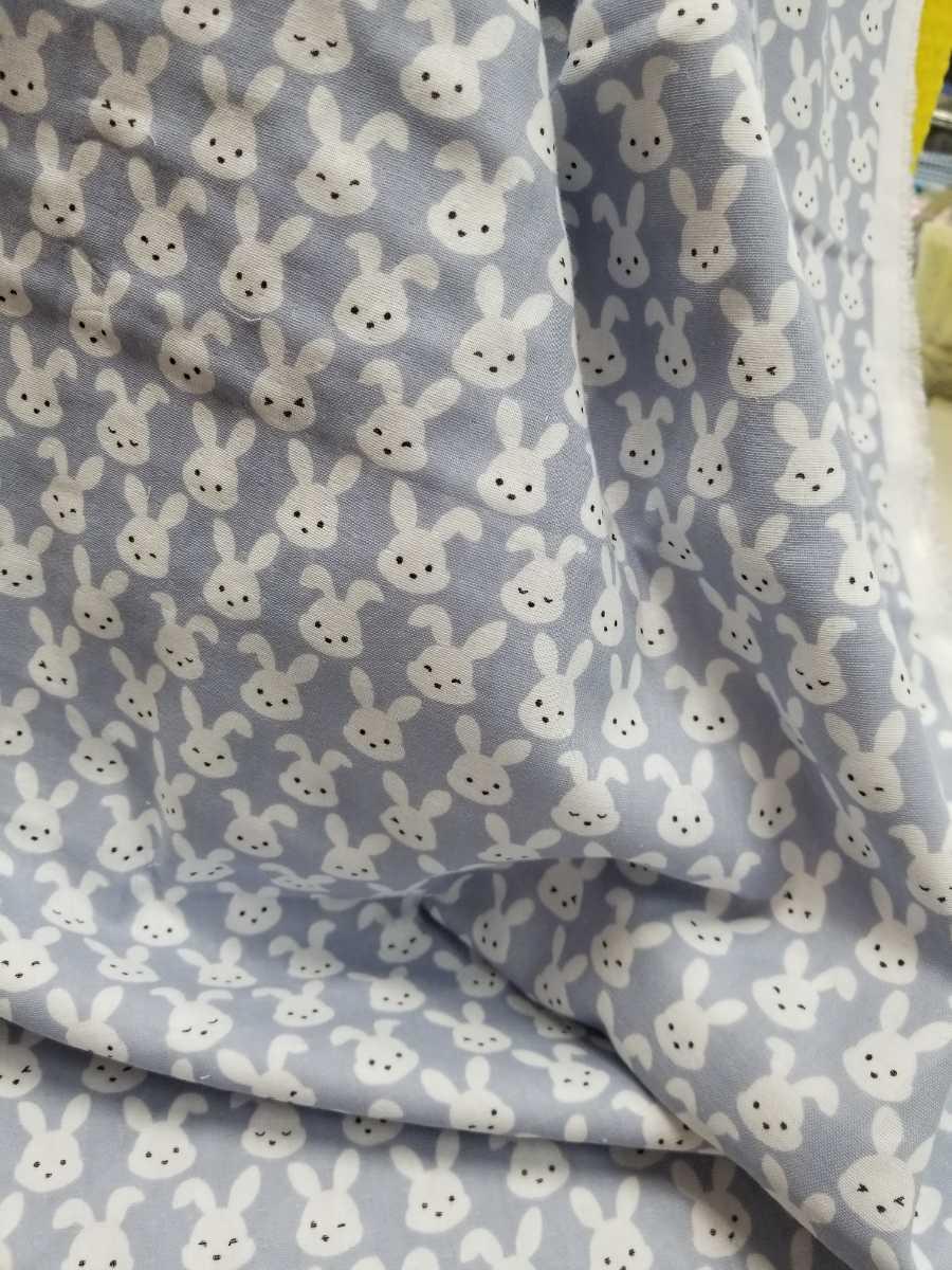 【生地】ダブルガーゼ グレー うさぎ柄 ウサギ ラビット かわいい ベビー用品 2m_画像2