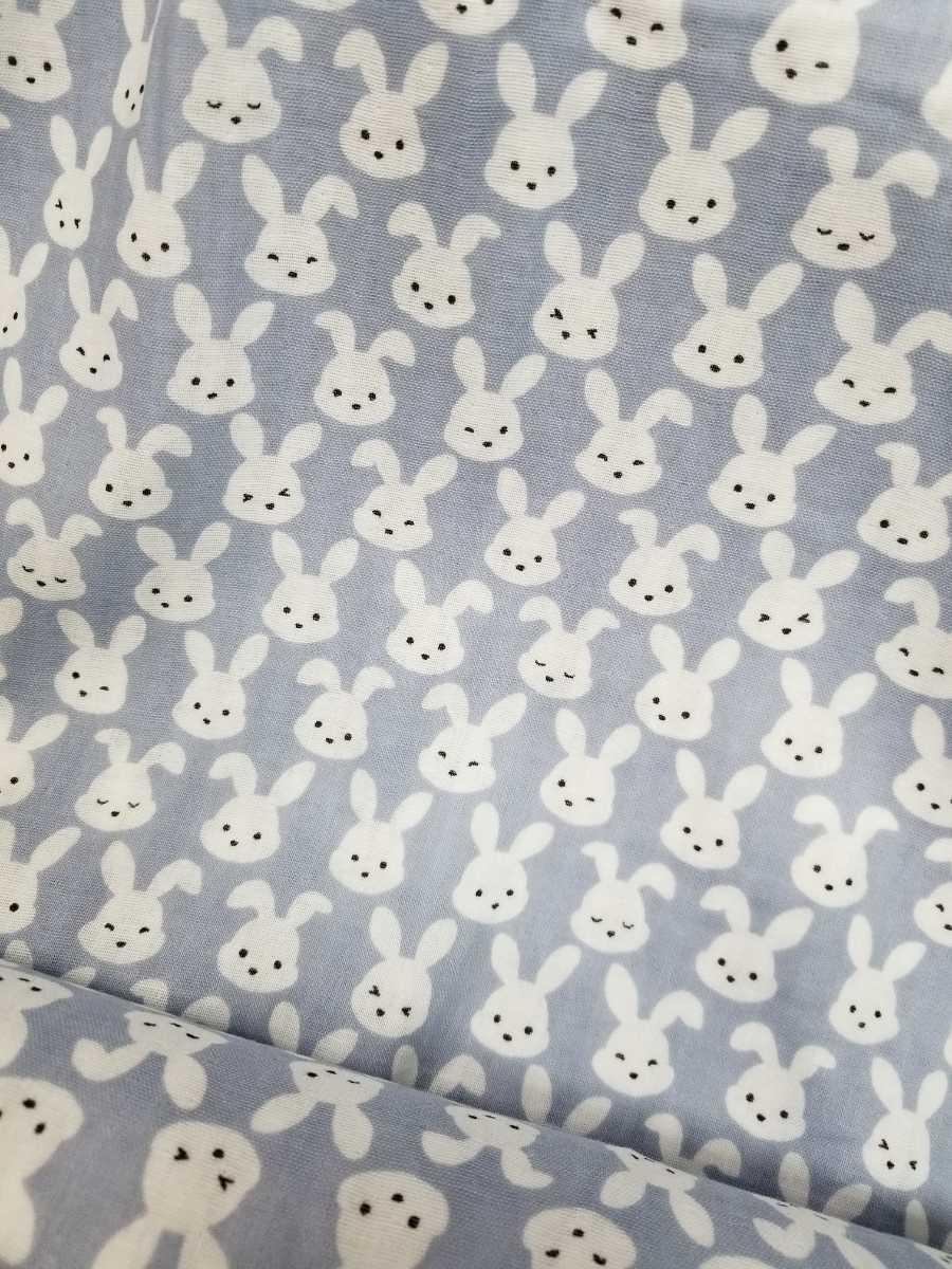 【生地】ダブルガーゼ グレー うさぎ柄 ウサギ ラビット かわいい ベビー用品 2m_画像1