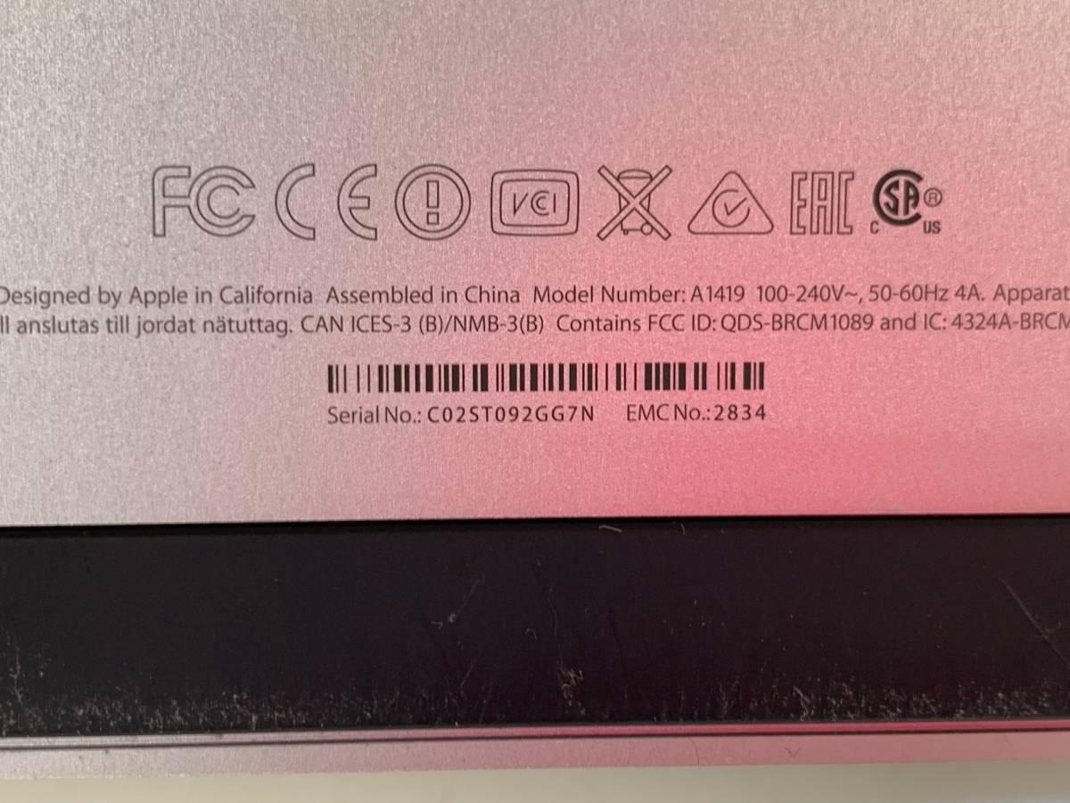 684 Apple iMac Late2015 5K 27インチ MK482J/A CPU Core i5 3.3GHz メモリ 8GB Fusion Drive 2.12TB 中古_画像4
