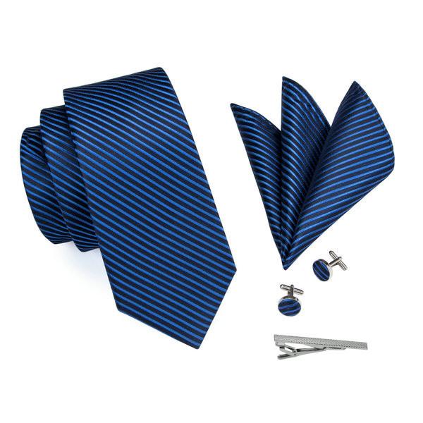 ネクタイ 4点セット ポケットチーフ カフスボタン タイピン 紺/青ストライブ 新品 送料込み プレゼント_画像4