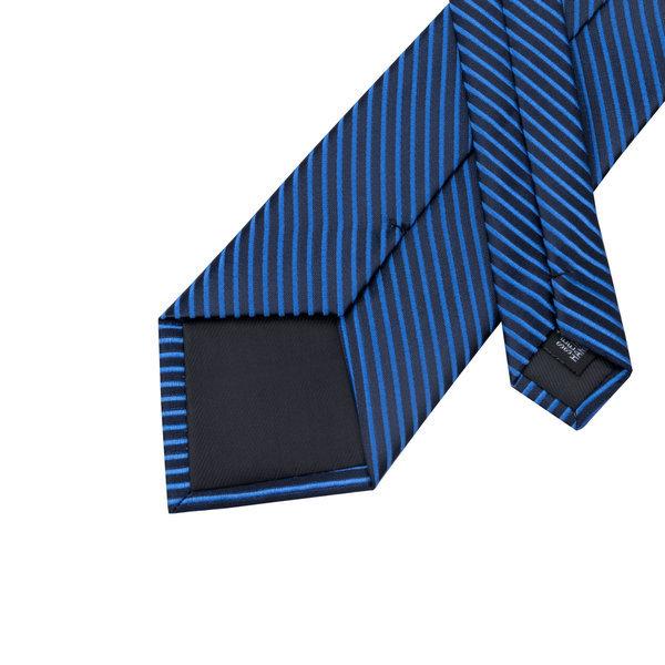 ネクタイ 4点セット ポケットチーフ カフスボタン タイピン 紺/青ストライブ 新品 送料込み プレゼント_画像5