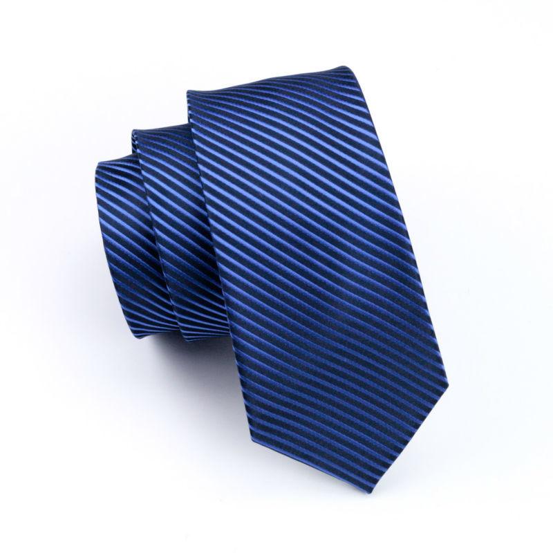 ネクタイ 4点セット ポケットチーフ カフスボタン タイピン 紺/青ストライブ 新品 送料込み プレゼント_画像6