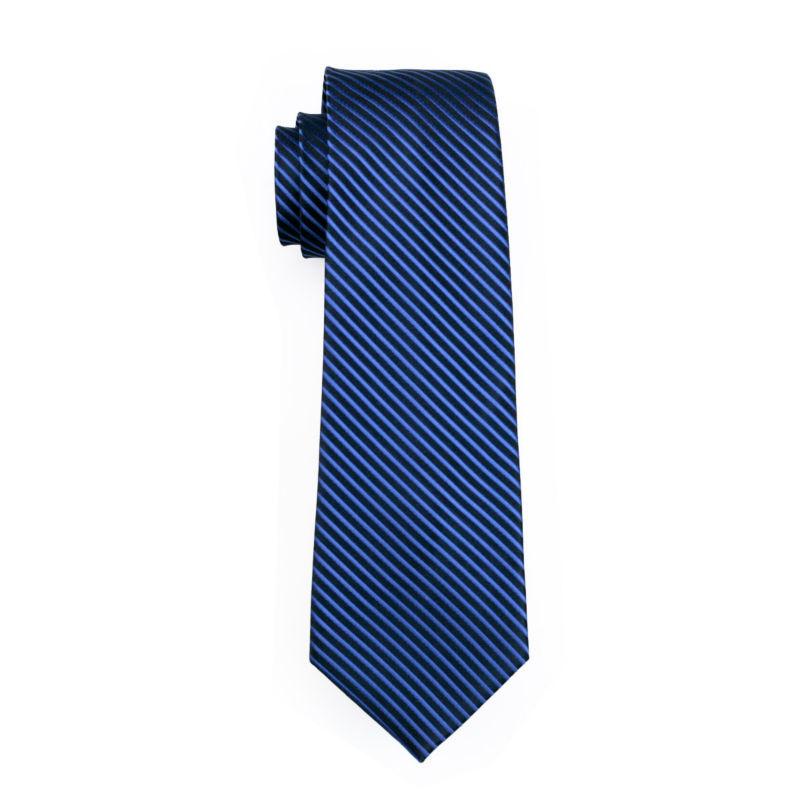 ネクタイ 4点セット ポケットチーフ カフスボタン タイピン 紺/青ストライブ 新品 送料込み プレゼント_画像7
