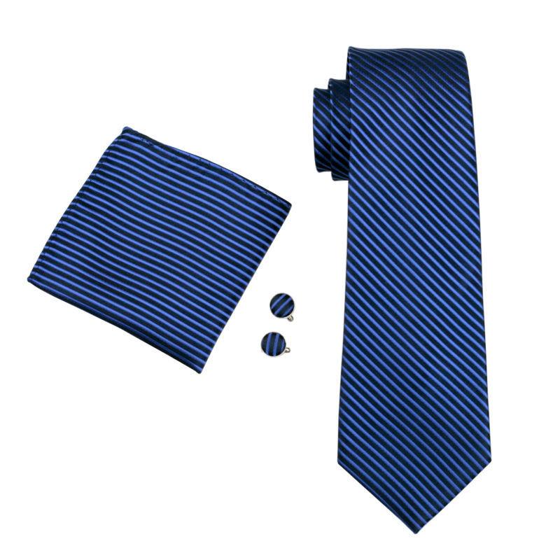 ネクタイ 4点セット ポケットチーフ カフスボタン タイピン 紺/青ストライブ 新品 送料込み プレゼント_画像8