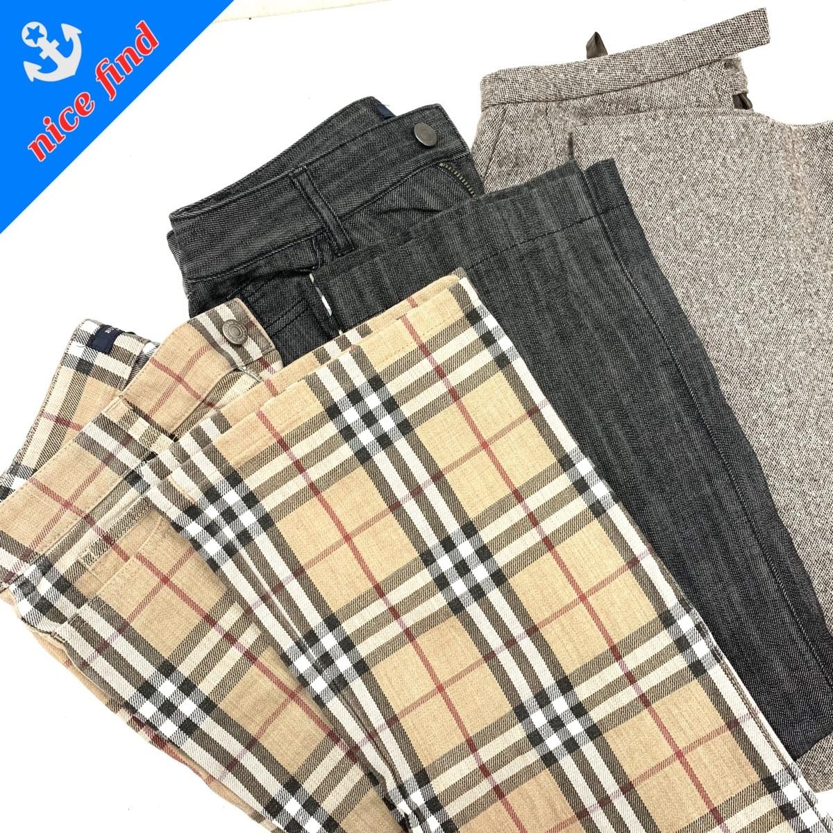 ◆ブランド婦人服まとめ売り3着セット◆バーバリー ロンドン レリアン チェック パンツ デニム ジーパン ワイド ズボン ストレート