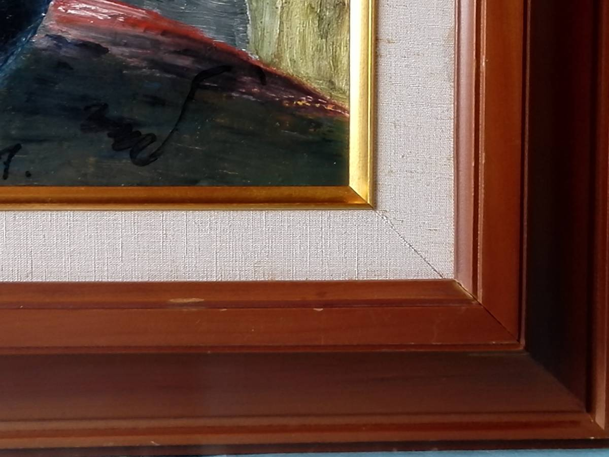 油絵油彩画 絵画 花 ガラス額入り  49,8cmⅹ59cm_画像7