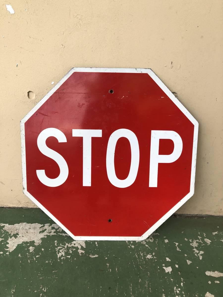 ★本物★アメリカ 道路標識 STOP ストップ ビッグサイズ★S-3★ロードサイン road Sign ガレージ 世田谷ベース アメリカン 看板 ビンテージ_画像1