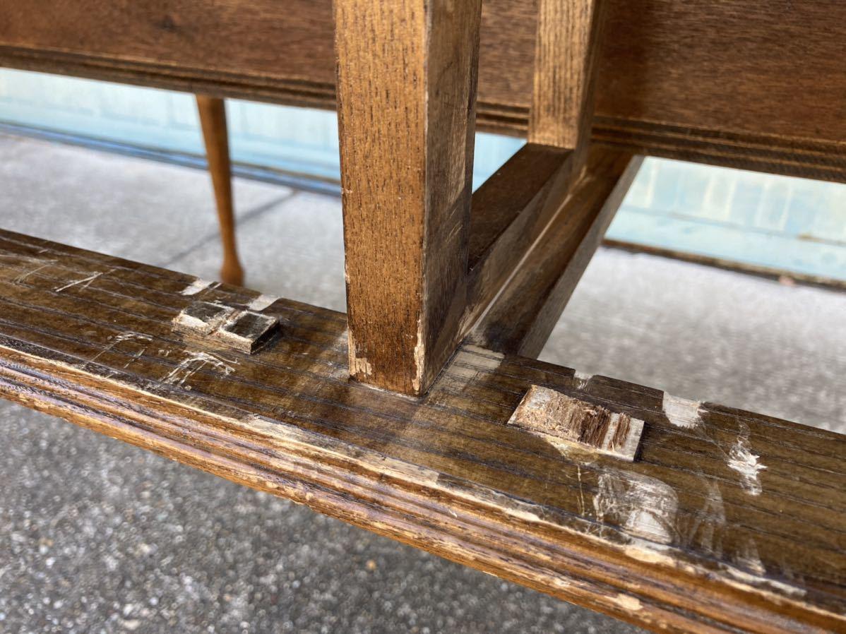 ■クラシカル 猫脚ディスプレイテーブル 幅150cm オーク材 両側収納 2ドロアー 引出し天板付き 陳列台 店舗什器 アパレル ギャラリー■_引出しのストッパーが無くなっています。