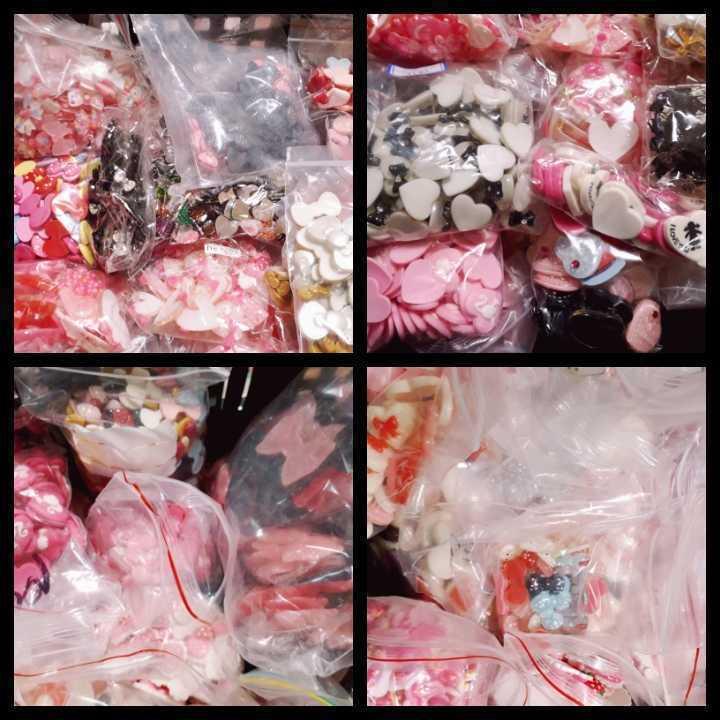 ③ りぼん・ハート系デコパーツ&パールパーツ&ストーン ◆福袋◆大量◆ ハンドメイド_画像3