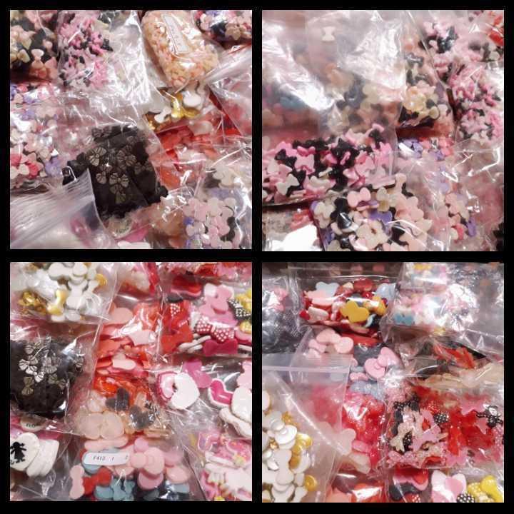 ③ りぼん・ハート系デコパーツ&パールパーツ&ストーン ◆福袋◆大量◆ ハンドメイド_画像2