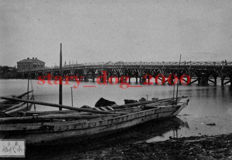 複製復刻 絵葉書/古写真 東京 永代橋と北海道開拓使物産売捌所 日本銀行 明治期 WA_069_画像1