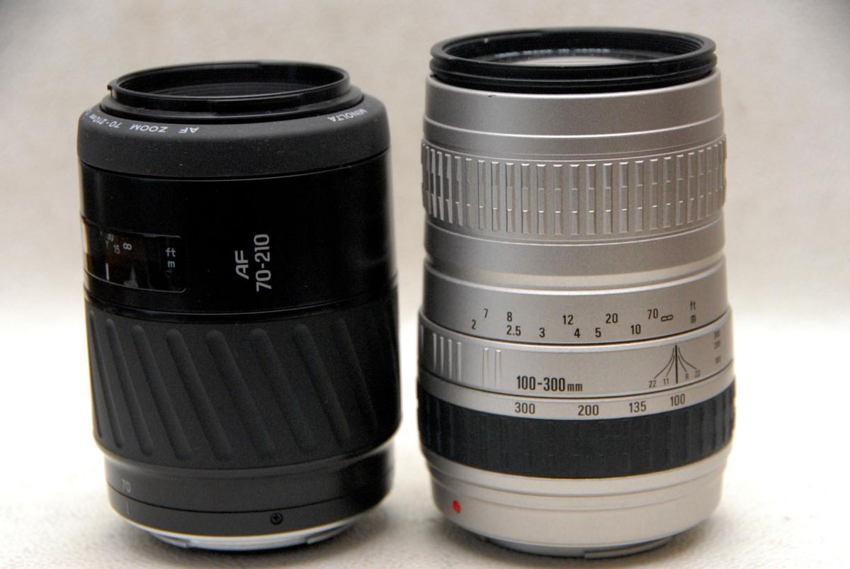MINOLTA ミノルタα専用AF 高級ズームレンズ(70-210mm + 100-300mm) 2本まとめて 作動品