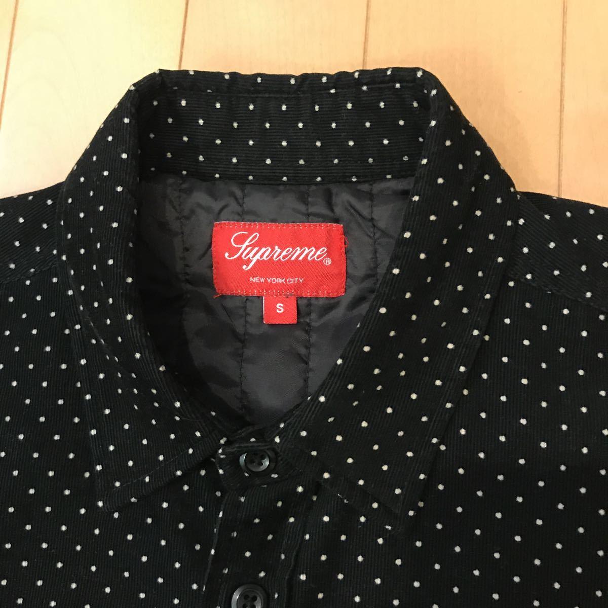 美品 Supreme Dot Corduroy Shirts 黒 S シュプリームドットコーデュロイシャツ 中綿ライナー_画像2
