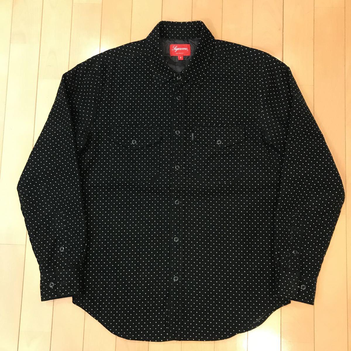 美品 Supreme Dot Corduroy Shirts 黒 S シュプリームドットコーデュロイシャツ 中綿ライナー_画像1