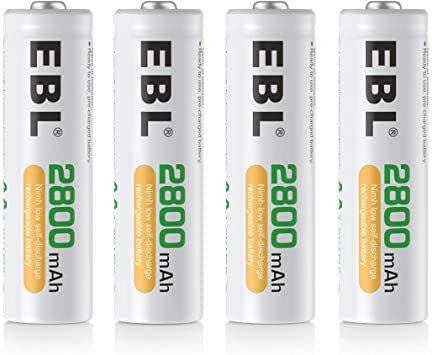 単3電池2800mAh 4本パック EBL 単3形充電池 充電式ニッケル水素電池2800mAh 4本入り ケース1個付き 約12_画像1
