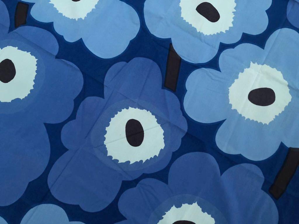 マリメッコ marimekko ウニッコ UNIKKO 生地 ブルー ヴィンテージ 水色 ファブリック クロス 青