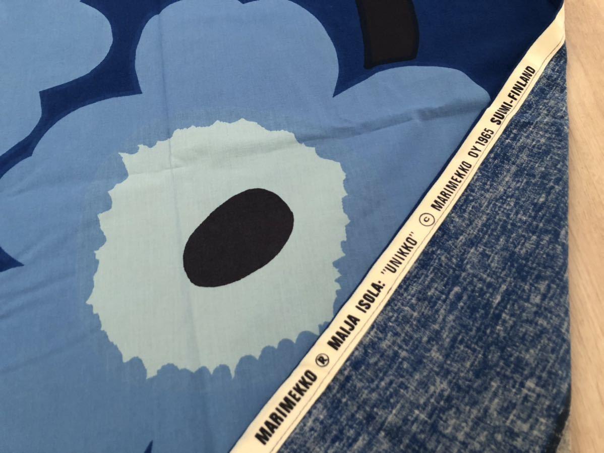 マリメッコ marimekko ウニッコ UNIKKO 生地 ブルー ヴィンテージ 水色 ファブリック クロス 青_画像3
