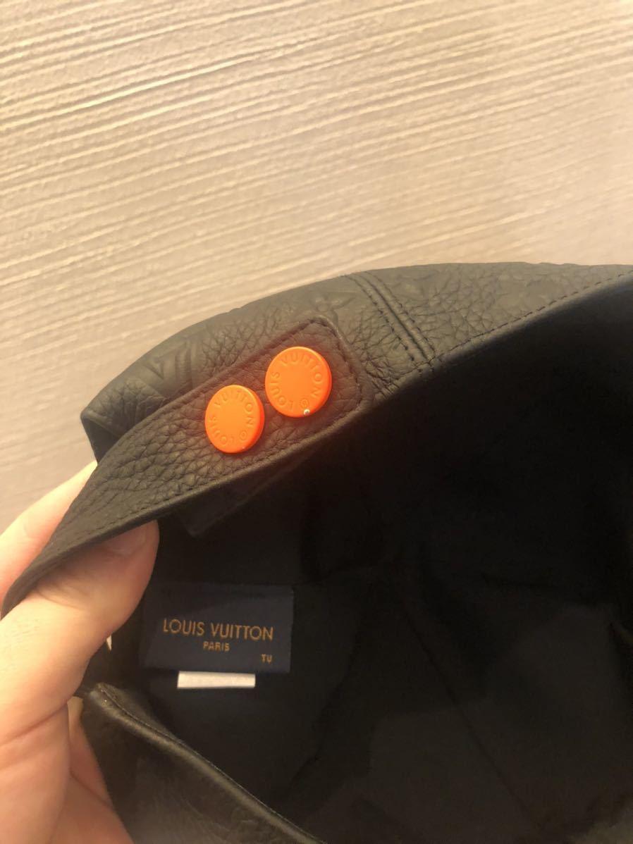 希少!! LOUIS VUITTON ルイヴィトン モノグラム レザー キャップ トリヨン クイル 黒 帽子 ヴァージルアブロー 1.0ver_画像4