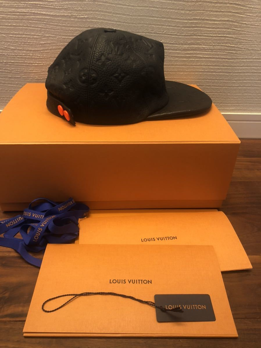 希少!! LOUIS VUITTON ルイヴィトン モノグラム レザー キャップ トリヨン クイル 黒 帽子 ヴァージルアブロー 1.0ver_画像1