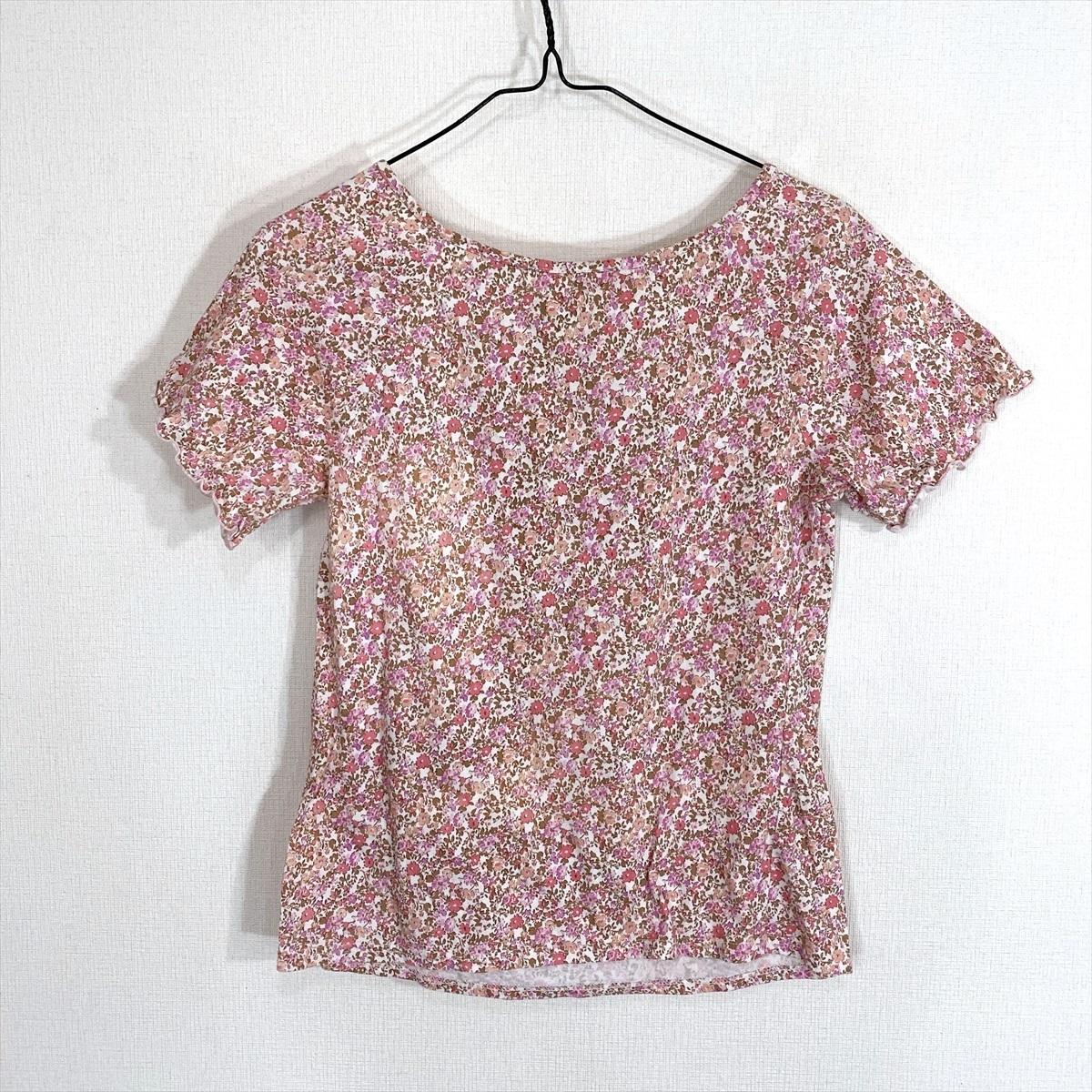 【送料250円】MELROSE メルローズ 花柄 柄物 ピンク 半袖 カットソー Tシャツ レディース 4【美品】_画像4