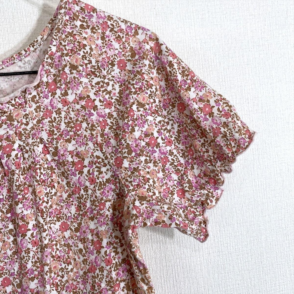 【送料250円】MELROSE メルローズ 花柄 柄物 ピンク 半袖 カットソー Tシャツ レディース 4【美品】_画像3