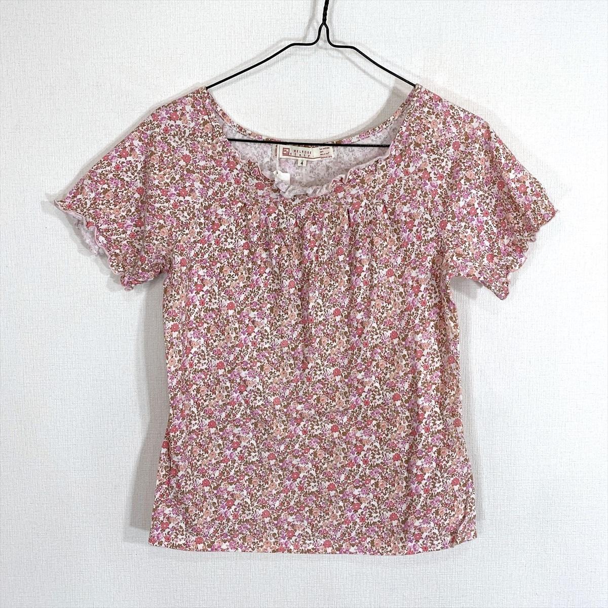 【送料250円】MELROSE メルローズ 花柄 柄物 ピンク 半袖 カットソー Tシャツ レディース 4【美品】_画像1