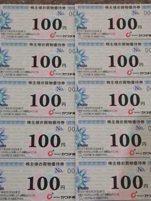 【送料63円~】 即決 カワチ薬品 株主優待券 1000円分(100円券10枚) 有効期限2021年6月30日迄 複数可_画像1